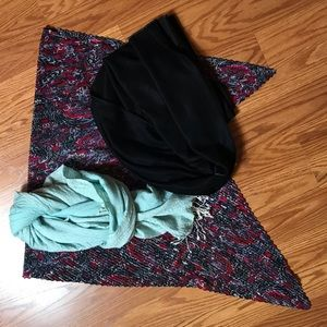 3 Women Headscarf Set Turquoise Black Glitter Pink